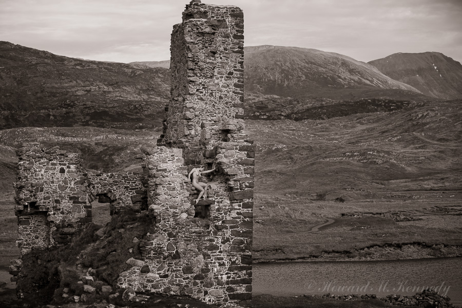 Tillie posing in the ruins of Ardvreck Castle