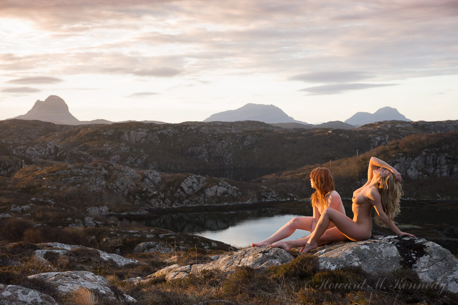 Helen and Tillie Greeting the Dawn over Suilven, Cul Mor and Cul Beg