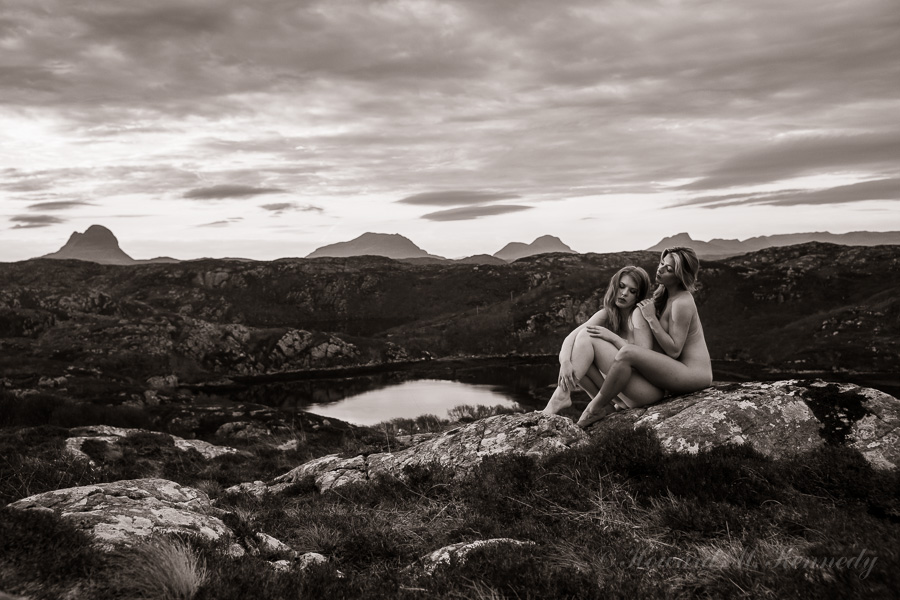 Helen and Tillie with Suilven, Cul Beg, Cul Mor and Stac Pollaidh