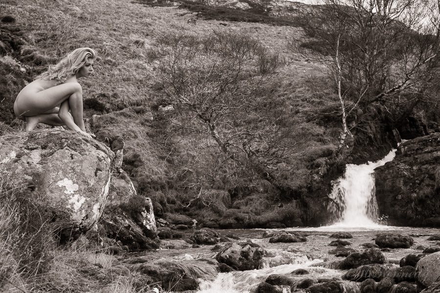 Tillie at the main waterfall on the Allt nan Uamh